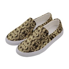 Gold Fabric Pattern Design Women s Canvas Slip Ons by Costasonlineshop