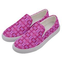 Pretty Pink Flower Pattern Men s Canvas Slip Ons by Costasonlineshop