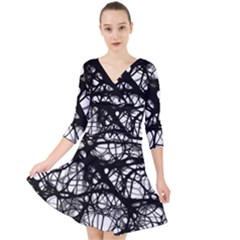 Neurons Brain Cells Brain Structure Quarter Sleeve Front Wrap Dress