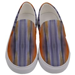 Gray Orange Stripes Painting Men s Canvas Slip Ons
