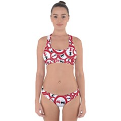 Overtaking Traffic Sign Cross Back Hipster Bikini Set by Celenk