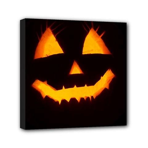 Pumpkin Helloween Face Autumn Mini Canvas 6  X 6  by Celenk