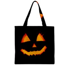 Pumpkin Helloween Face Autumn Zipper Grocery Tote Bag by Celenk