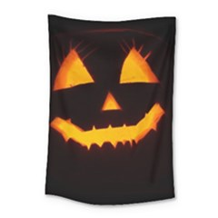 Pumpkin Helloween Face Autumn Small Tapestry by Celenk