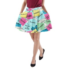 Stickies Post It List Business A Line Pocket Skirt by Celenk