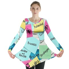 Stickies Post It List Business Long Sleeve Tunic  by Celenk