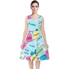 Stickies Post It List Business V Neck Midi Sleeveless Dress  by Celenk