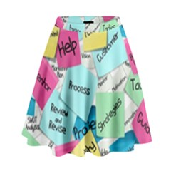 Stickies Post It List Business High Waist Skirt by Celenk