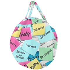 Stickies Post It List Business Giant Round Zipper Tote by Celenk