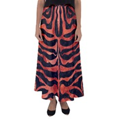 Skin2 Black Marble & Copper Paint (r) Flared Maxi Skirt by trendistuff