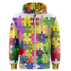 Puzzle Part Letters Abc Education Men s Zipper Hoodie