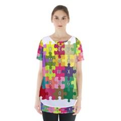 Puzzle Part Letters Abc Education Skirt Hem Sports Top by Celenk