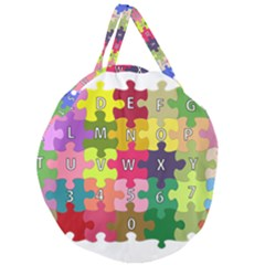 Puzzle Part Letters Abc Education Giant Round Zipper Tote by Celenk