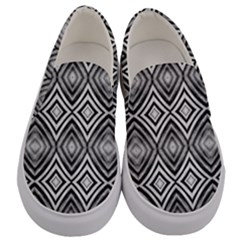 Black White Diamond Pattern Men s Canvas Slip Ons