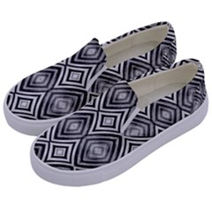 Black White Diamond Pattern Kids  Canvas Slip Ons by Costasonlineshop