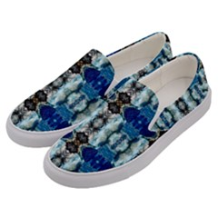 Royal Blue Abstract Pattern Men s Canvas Slip Ons by Costasonlineshop