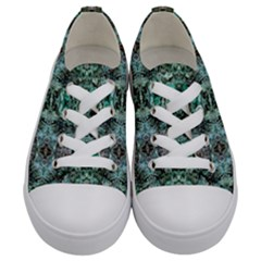 Green Black Gothic Pattern Kids  Low Top Canvas Sneakers