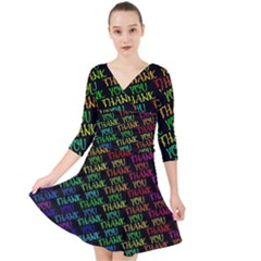 Thank You Font Colorful Word Color Quarter Sleeve Front Wrap Dress	 by Celenk