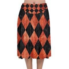 Square2 Black Marble & Copper Paint Velvet Flared Midi Skirt