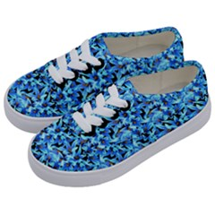 Turquoise Blue Abstract Flower Pattern Kids  Classic Low Top Sneakers by Costasonlineshop