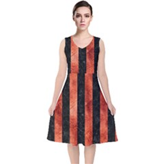 Stripes1 Black Marble & Copper Paint V Neck Midi Sleeveless Dress