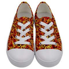 Orange Yellow  Saw Chips Kids  Low Top Canvas Sneakers