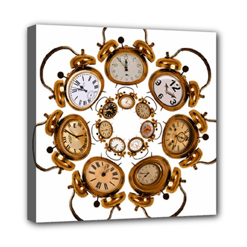Time Clock Alarm Clock Time Of Mini Canvas 8  X 8  by Celenk