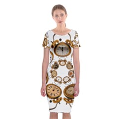 Time Clock Alarm Clock Time Of Classic Short Sleeve Midi Dress by Celenk
