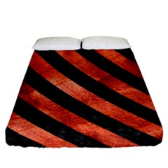 Stripes3 Black Marble & Copper Paint Fitted Sheet (queen Size) by trendistuff