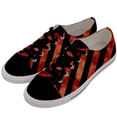 Stripes3 Black Marble & Copper Paint (r) Men s Low Top Canvas Sneakers by trendistuff