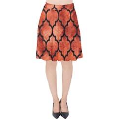 Tile1 Black Marble & Copper Paint Velvet High Waist Skirt by trendistuff