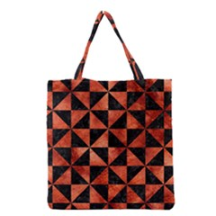 Triangle1 Black Marble & Copper Paint Grocery Tote Bag by trendistuff