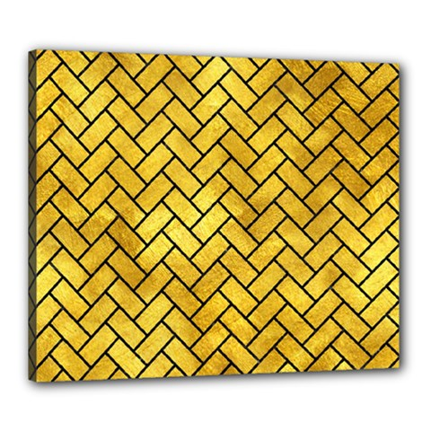 Brick2 Black Marble & Gold Paint Canvas 24  X 20  by trendistuff