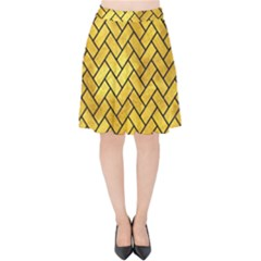 Brick2 Black Marble & Gold Paint Velvet High Waist Skirt by trendistuff