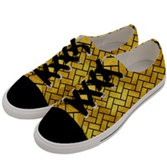 Brick2 Black Marble & Gold Paint Men s Low Top Canvas Sneakers by trendistuff