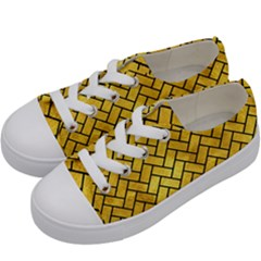 Brick2 Black Marble & Gold Paint Kids  Low Top Canvas Sneakers by trendistuff