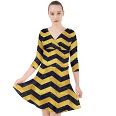 Chevron3 Black Marble & Gold Paint Quarter Sleeve Front Wrap Dress