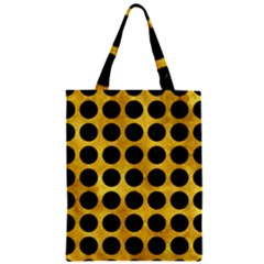 Circles1 Black Marble & Gold Paint Zipper Classic Tote Bag by trendistuff