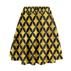 Circles3 Black Marble & Gold Paint High Waist Skirt by trendistuff
