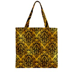 Damask1 Black Marble & Gold Paint Zipper Grocery Tote Bag by trendistuff