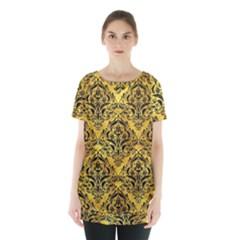 Damask1 Black Marble & Gold Paint Skirt Hem Sports Top by trendistuff