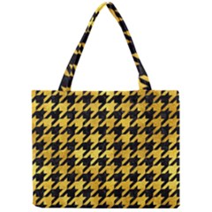 Houndstooth1 Black Marble & Gold Paint Mini Tote Bag by trendistuff