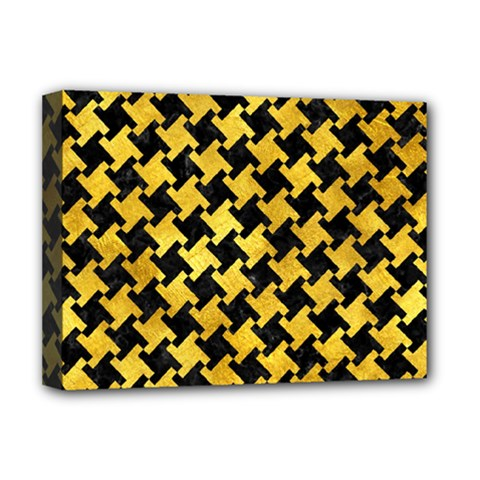 Houndstooth2 Black Marble & Gold Paint Deluxe Canvas 16  X 12   by trendistuff