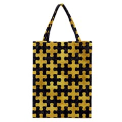 Puzzle1 Black Marble & Gold Paint Classic Tote Bag by trendistuff
