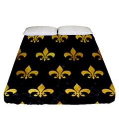 Royal1 Black Marble & Gold Paint Fitted Sheet (queen Size) by trendistuff