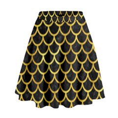 Scales1 Black Marble & Gold Paint (r) High Waist Skirt by trendistuff