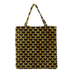 Scales3 Black Marble & Gold Paint (r) Grocery Tote Bag by trendistuff