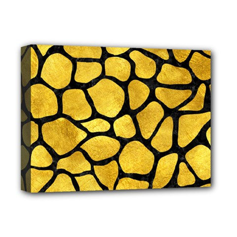Skin1 Black Marble & Gold Paint (r) Deluxe Canvas 16  X 12   by trendistuff