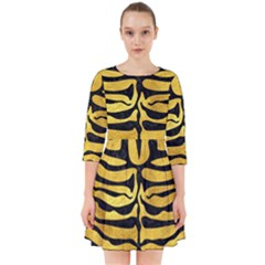 Skin2 Black Marble & Gold Paint Smock Dress