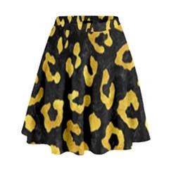 Skin5 Black Marble & Gold Paint High Waist Skirt by trendistuff